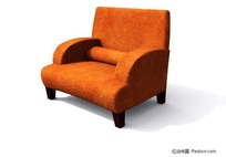 单人橙色沙发3D模型
