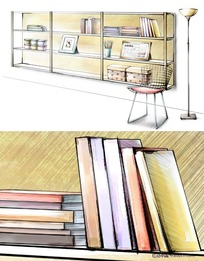 PS手绘书架