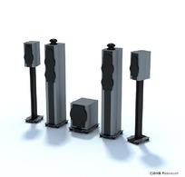 3D家庭影院音响模型