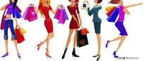 一群购物女郎
