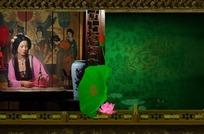 中国风古典美女荷花素材