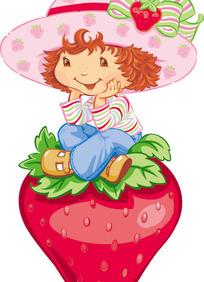 草莓妹妹坐在大草莓上思考问题