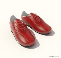 3D精美红色休闲鞋模型