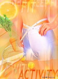 美女网球运动减肥背景素材