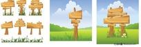 木板公告牌指示牌矢量素材