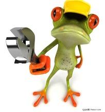 拿着活扳子的3D卡通青蛙工人