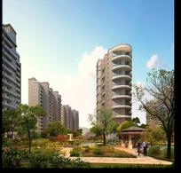 小区住宅楼建筑景观后期效果图