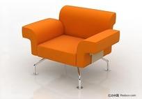 3D橙色单人沙发模型