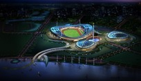 3D体育场馆夜景效果图