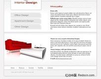 欧美室内设计公司网页模板PSD、HTML