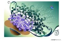 帽子里的蓝色花朵