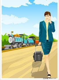 插画-拖着旅行箱的美女