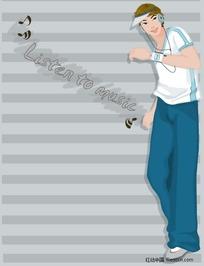 插画-运动装戴耳机的男孩