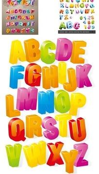 可爱立体英文字母矢量素材