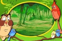 ps小鸟与森林卡通边框