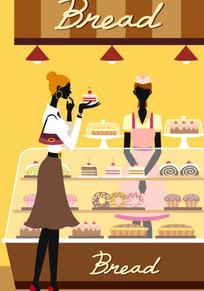 蛋糕店买蛋糕的美女