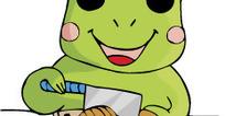 卡通插画-切面包的小青蛙