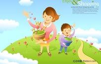 手拿花盆播种的母子