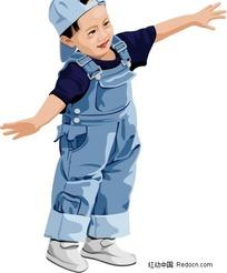 插画 穿背带裤的小男孩下载 245335