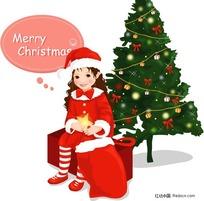 插画-穿圣诞服装的小女孩