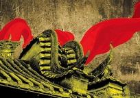 古代屋檐与红绸带