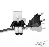 立体小人坐在黑色插头上