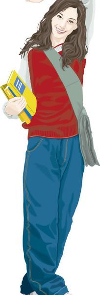 插画-背书包的女孩