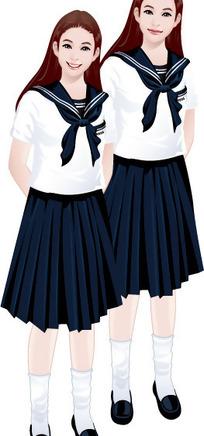 插画-学生装少女