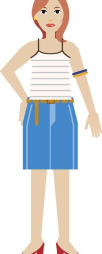 手绘-穿吊带衫的女人
