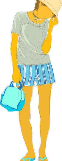手绘-穿短裤的女孩