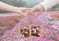 实景外拍红花和牵手浪漫思绪婚纱照psd模板