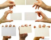 各种手拿卡片的动作姿势