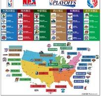 美国NBA大联盟赛区分布图矢量素材
