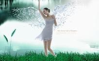 湖边的水花翅膀美女素材