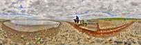 360全景图-河边轨道车上坐着的男人