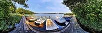 360全景图-河边码头小船
