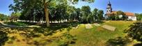 360全景图-绿色树林中的房子