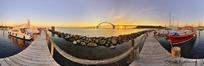 360全景图-停着游船的木码头