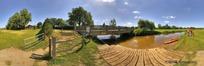360全景图-野外河畔小桥