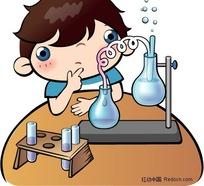 做化学实验入迷的小男孩