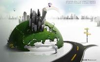 绿色全球商务素材