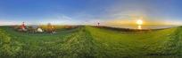 360全景图-海边草地房屋