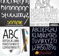 手绘风格英文字母矢量素材