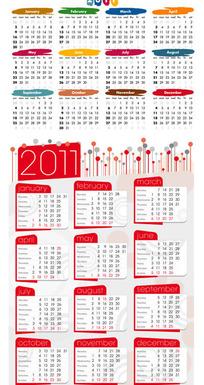 2011可爱日历矢量素材