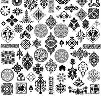 古代花纹样式矢量素材