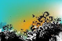 小鸟花海植物花纹矢量图