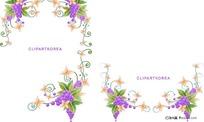 韩国花卉、水果与蝴蝶花边矢量素材图片