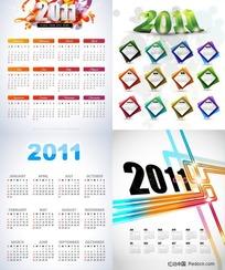 2011年精美日历模板矢量素材(无农历)