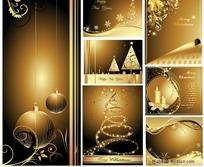 圣诞黄金明信片矢量素材