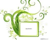 潮流绿色花纹装饰框素材